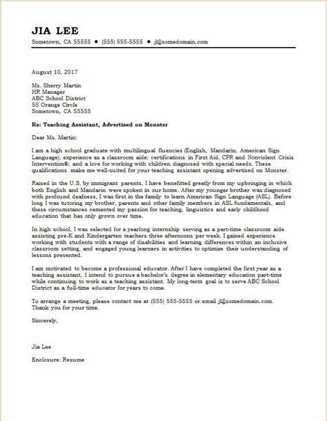 teaching assistant cover letter sample monstercom