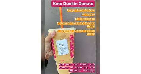 In addition to their regular coffee flavor, the bottled beverage will be available in french vanilla. Large Iced Coffee With Toasted Almond and French Vanilla, No Cream | Keto Drinks at Dunkin' to ...