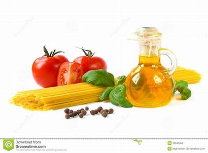 Ingredients Pasta Spaghetti Bottle Isolated Tomatoes Basil