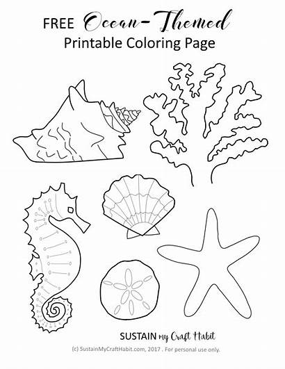 Ocean Coloring Themed Printable Craft Sustainmycrafthabit Pages