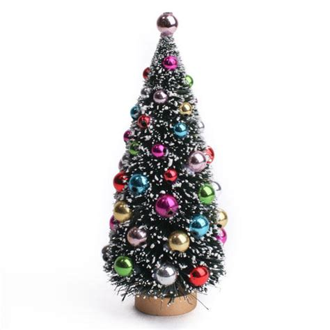 decorated frosted christmas tree frosted bottle brush christmas tree christmas miniatures christmas and winter holiday crafts