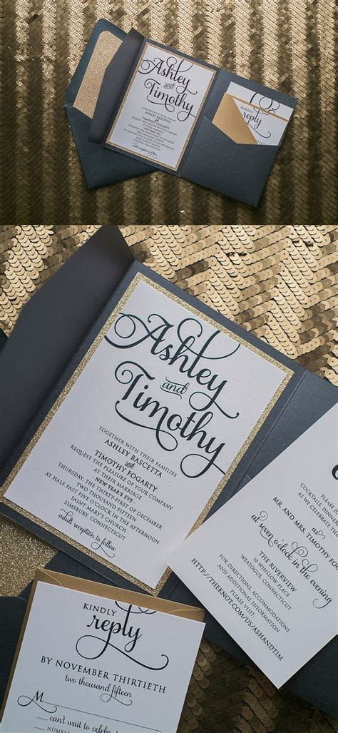 Black And Gold Pocket Luxury Wedding Invitations By Just