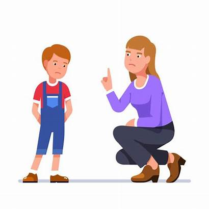 Mother Scold Son Misbehaving Punishment Unhappy Standing