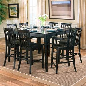 Black color wood square dining room table seats 8 with for Square dining room table for 8 with leaf