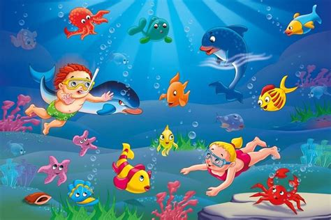 sealife wallpaper  illustrated sealife wallpaper