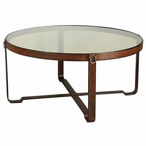 olympus rustic lodge leather harness glass round coffee With leather and glass coffee table