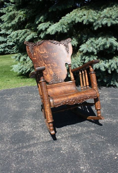 vintageantique oak tiger wood rocking chair wood