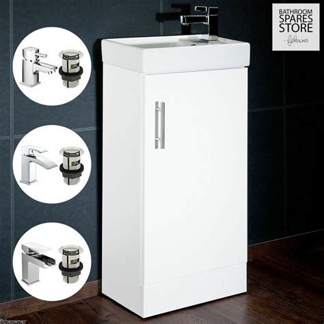 high gloss white compact bathroom cabinet vanity unit