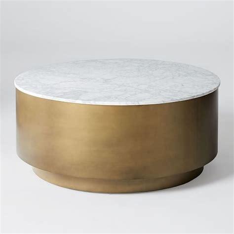 metal drum side table marble metal drum coffee table west elm