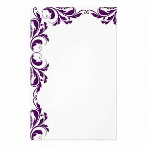 Chic Dark Purple Damask Plain Stationery