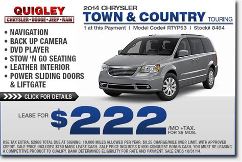 Lease A Chrysler Town And Country by Boyertown Dodge Chrysler Jeep Ram New Vehicle Savings