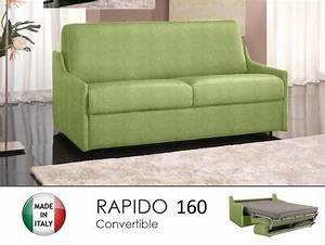 Canapé Convertible Vert : canape lit 4 places luna convertible ouverture rapido 160 cm microfibre vert anis ~ Teatrodelosmanantiales.com Idées de Décoration