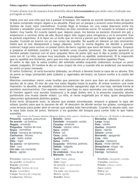 Espanhol Falsos Cognatos La Presunta Abuelita Naturaleza