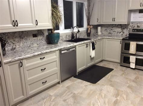 mystic spring granitetaupe painted cabinetsblack matte