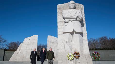 trump luther martin king jr memorial washington visit president donald times civil rights york lays wreath brief jan pence vice