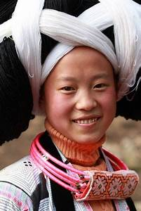 Changjiao Miao woman wearing her traditional necklace and ...
