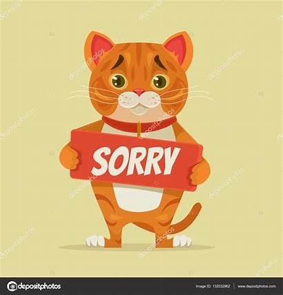 Sorry Illustration Apology Cat Hold Character Vector