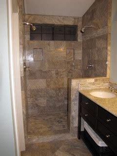 silver  vein cut travertine tile shower surround