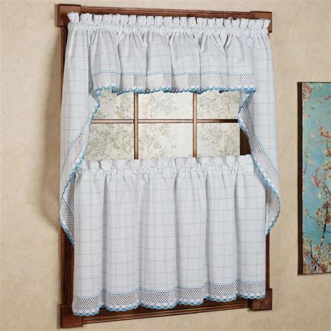 White And Blue Window Valances by Adirondack Cotton Kitchen Window Curtains White Blue