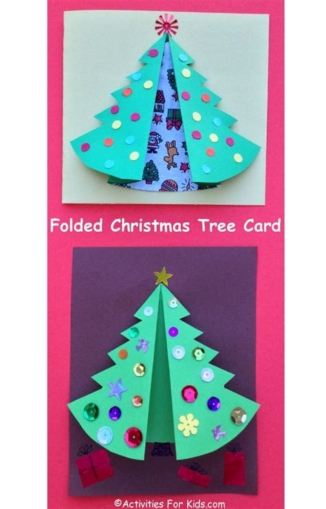 folded christmas tree card activity kids activities