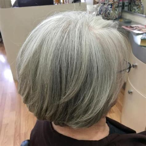 images of medium length haircuts 60 gorgeous gray hair styles layered bobs 2042