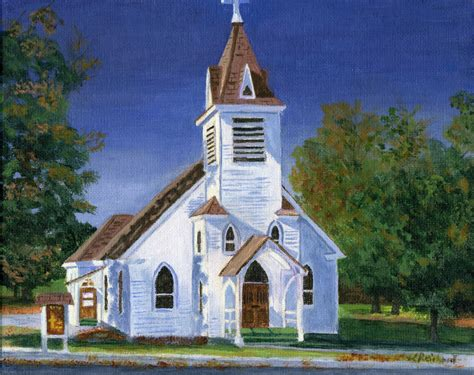 Fall Church Reproduction From Original Acrylic Painting 8 X 10