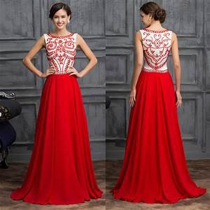 vintage red chiffon evening party dress wedding gowns With formal long dresses for weddings