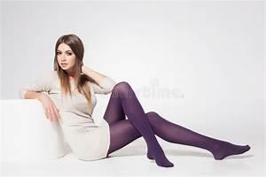 Beautiful Woman With Long Legs Wearing Stockings Posing In ...