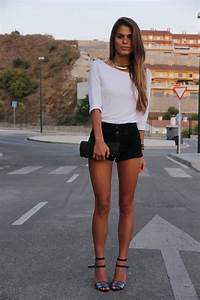 White top black shorts purse shoes summer outfits womens fashion clothes style apparel clothing ...