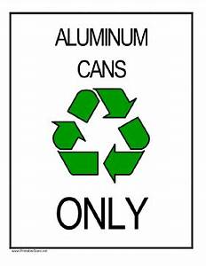 Printable Recycle Aluminum Cans Sign