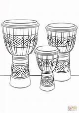 Coloring Drums Djembe Drum Printable Instruments Musical Drawing Sheet Dibujo sketch template