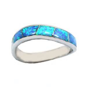 plain engagement ring with diamond wedding band sky blue opal inlay sterling silver band ring r3782