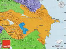 Political Map of Azerbaijan, political shades outside