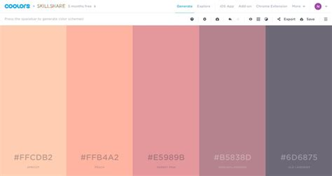 generate color scheme pattern on coolors pattern