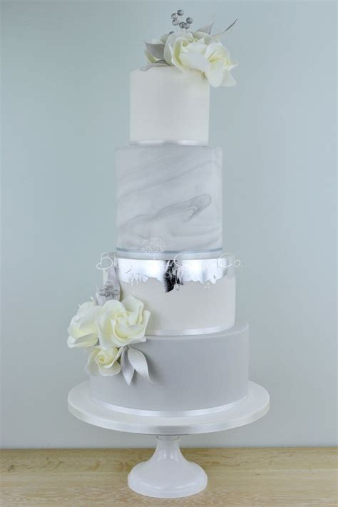 Silver Marble Wedding Cake By Blossom Tree Cake Company