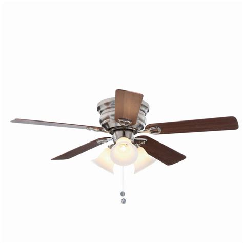 light with fan clarkston 44 in indoor brushed nickel ceiling fan with