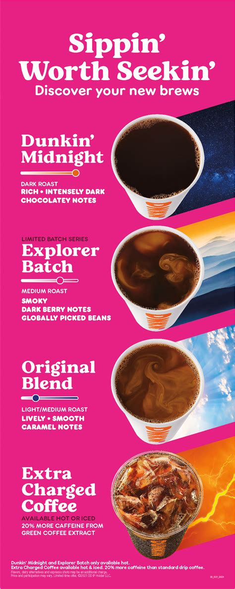 Flavors include original blend, dark roast, dunkin' decaf®, french vanilla and hazelnut. New Dunkin coffees boost caffeine and bold flavor options