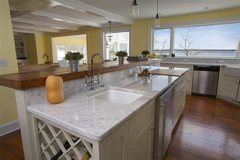 Marble And Butcher Block Countertops by White Carrara Counter With Butcher Block Raised Bar