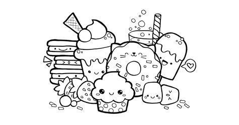 Kleurplaat Kawaii by Kawaii Food Doodle Free Printable Coloring Page