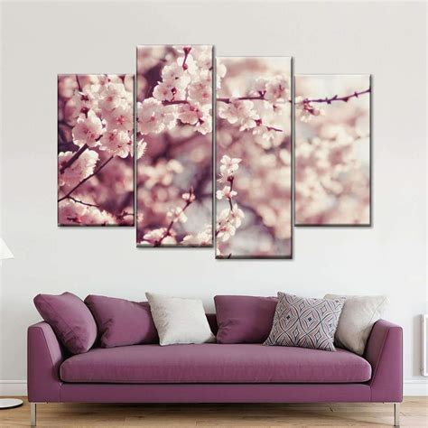 Wall pictures, murals, remodeling and decorating ideas. Cherry Blossom Multi Panel Canvas Wall Art   ElephantStock