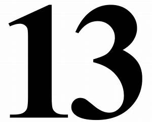 """Number 13 in Black Times New Roman Serif Font Typeface"