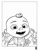 Coloring Cocomelon Characters Character Fictional sketch template