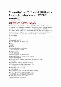Nissan Skyline Gt R Model R32 Series Repair Workshop