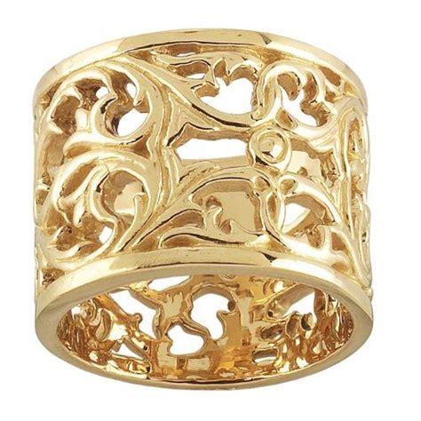 gold wide filigree unique wedding ring  women