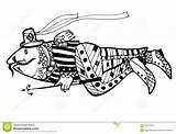 Coloring Spear Fish Wersion Weit Schwarzes Sketch Animals Davon Cartoon Fischen Stange Einem Sie sketch template
