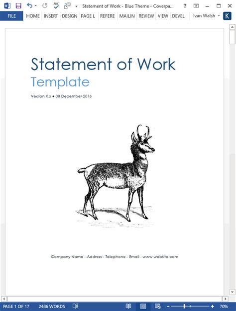 statement  work ms word excel template