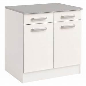 Meuble Bas 3 Portes : meuble bas 2 tiroirs 2 portes 60 cm shiny blanc ~ Teatrodelosmanantiales.com Idées de Décoration