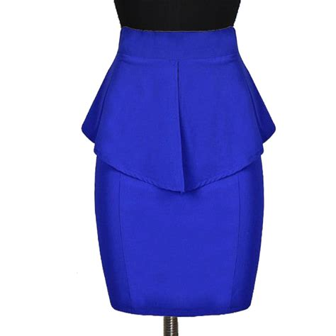 white dress plus size royal blue peplum pencil skirt custom fit handmade