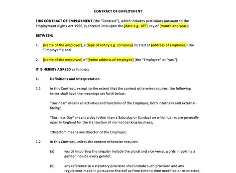 Template Of A Contract Of Employment by Employment Contract Template Uk Template Agreements And
