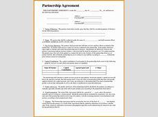Format Of Partnership Agreement Standard Basic Template